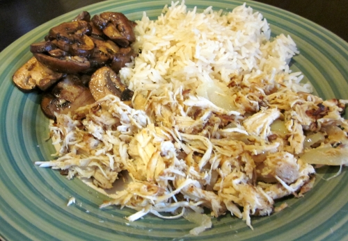 Peruvian Chicken French Onion Rice Balsamic Mushrooms 2